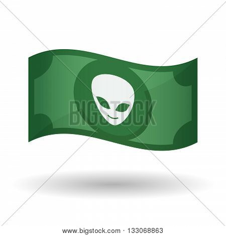 Illustration Of A Waving Bank Note With An Alien Face