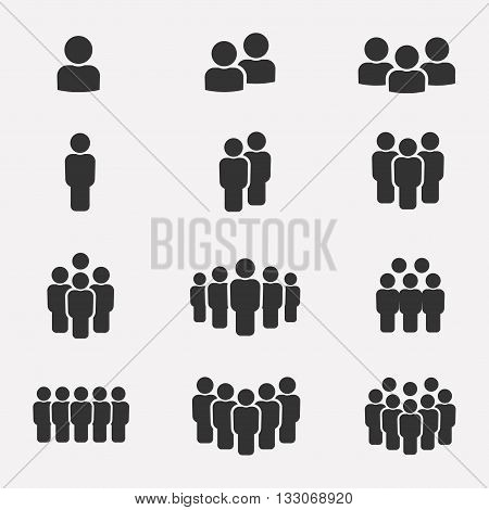 Team icon vector set. Group of people icons isolated on a white background. Business team icons collection. Crowd of people black silhouettes simple. Team icons in flat style.