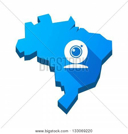 Illustration Of An Isolated Brazil Map With A Web Cam