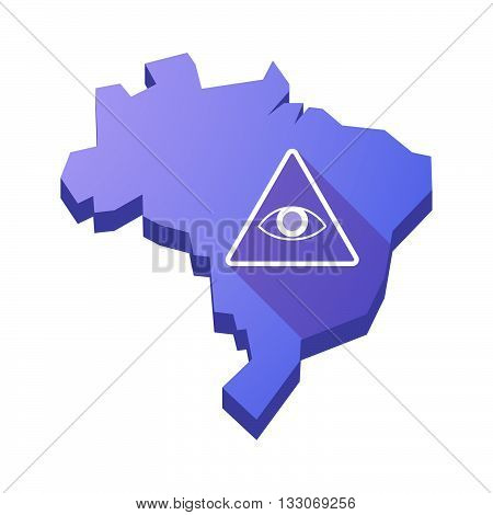 Illustration Of An Isolated Brazil Map With An All Seeing Eye