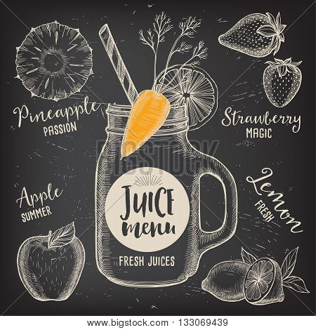 Juice menu placemat drink restaurant brochure dessert template design. Vintage creative beverage template with hand-drawn graphic. Vector food menu flyer. Gourmet menu board.