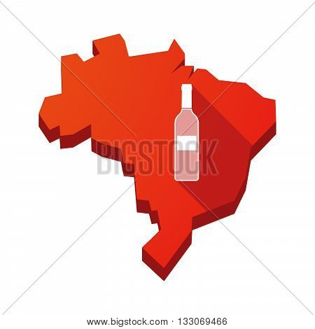 Illustration Of An Isolated Brazil Map With A Bottle Of Wine