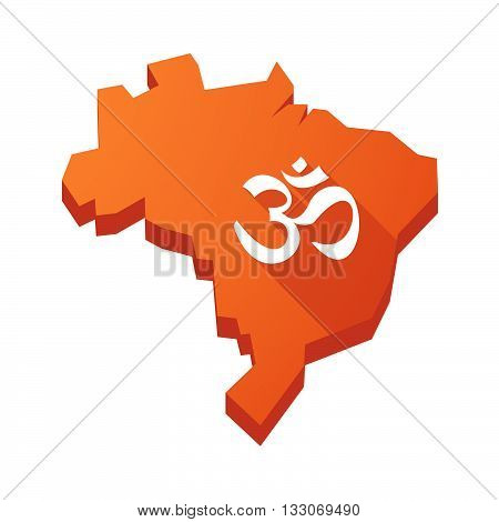 Illustration Of An Isolated Brazil Map With An Om Sign