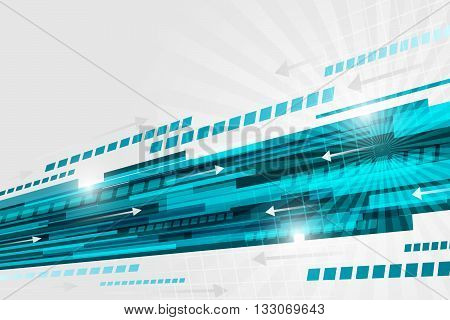 Technological Abstract Vector Background With Blue Straight Line, Glitter And Arrows.