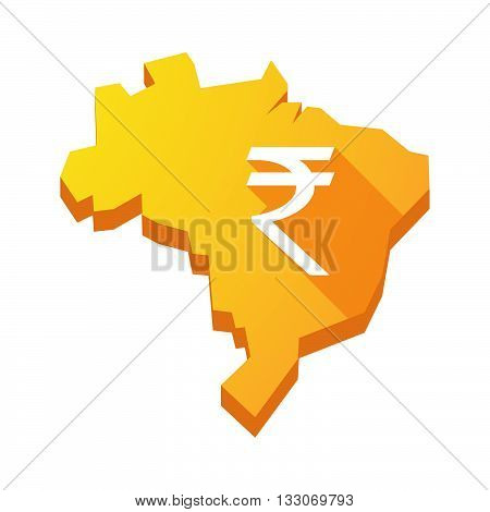 Illustration Of An Isolated Brazil Map With A Rupee Sign