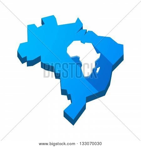 Illustration Of An Isolated Brazil Map With  A Map Of The African Continent