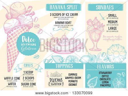 Ice cream menu placemat food restaurant brochure dessert template design. Vintage creative sweet template with hand-drawn graphic. Vector food menu flyer. Gourmet menu board.