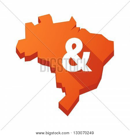 Illustration Of An Isolated Brazil Map With An Ampersand