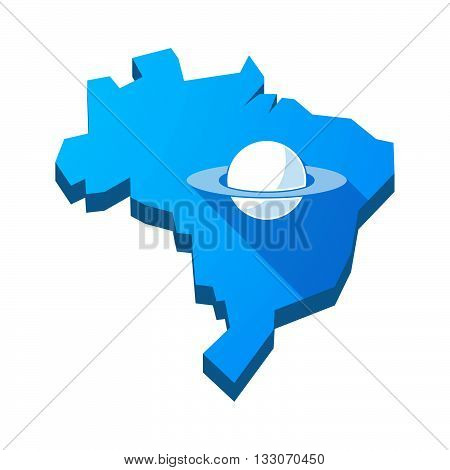Illustration Of An Isolated Brazil Map With The Planet Saturn