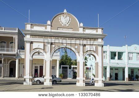 CIENFUEGOS - DECEMBER 2: Arco de Triunfo in Jose Marti Park on 2 December 2015 in Cienfuegos, Cuba.