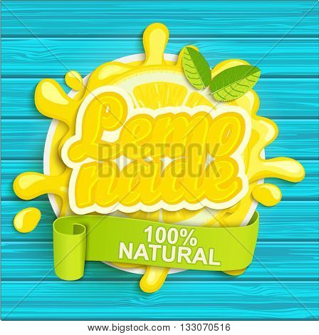 Lemonade label splash. Blot and lettering with ribbon on white background. Splash and blot design, shape creative vector illustration.