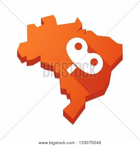 Illustration Of An Isolated Brazil Map With A Toy Crank