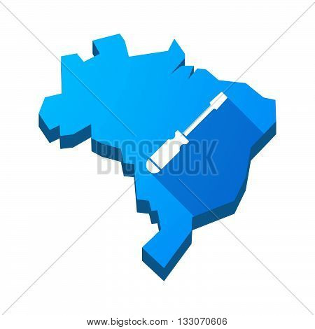 Illustration Of An Isolated Brazil Map With A Screwdriver