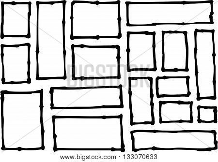 hand-drawn rectangle and square shapes over white