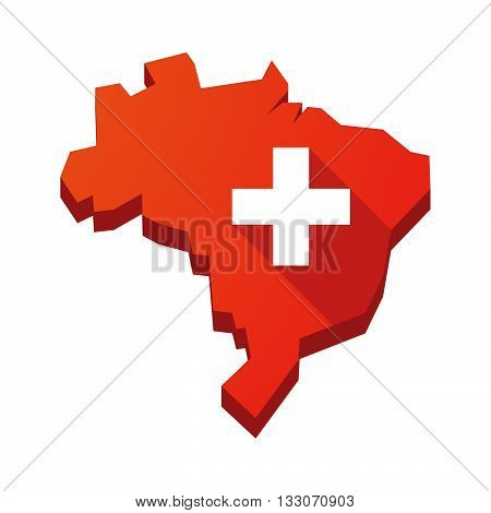 Illustration Of An Isolated Brazil Map With   The Swiss Flag