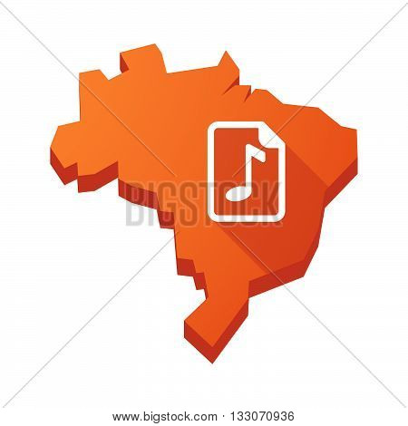 Illustration Of An Isolated Brazil Map With  A Music Score Icon