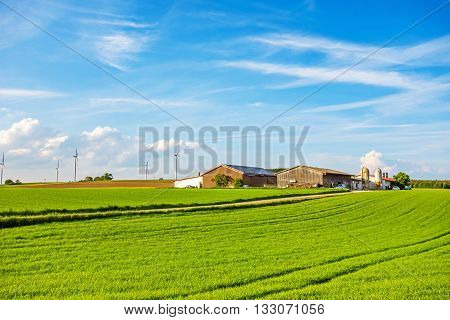 Bartholomae Germany - May 26 2016: Farm surrounded by green fields / meadow blue sky