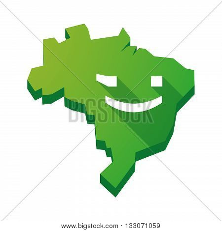Illustration Of An Isolated Brazil Map With  A Wink Text Face Emoticon