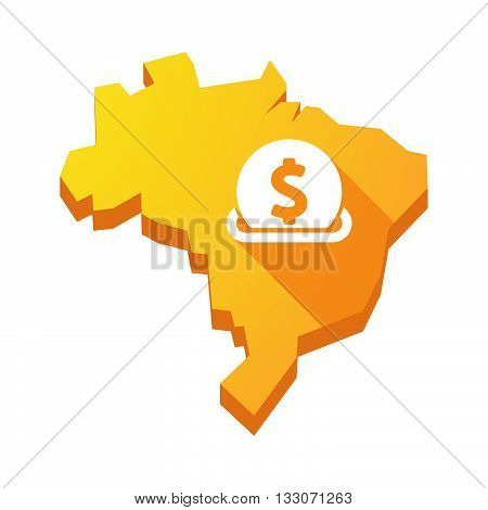 Illustration Of An Isolated Brazil Map With  A Dollar Coin Entering In A Moneybox