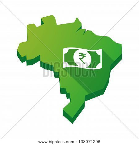 Illustration Of An Isolated Brazil Map With  A Rupee Bank Note Icon