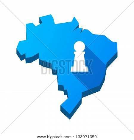 Illustration Of An Isolated Brazil Map With A  Pawn Chess Figure