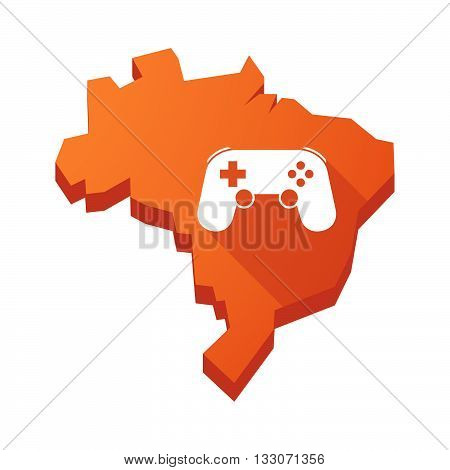 Illustration Of An Isolated Brazil Map With  A Game Pad