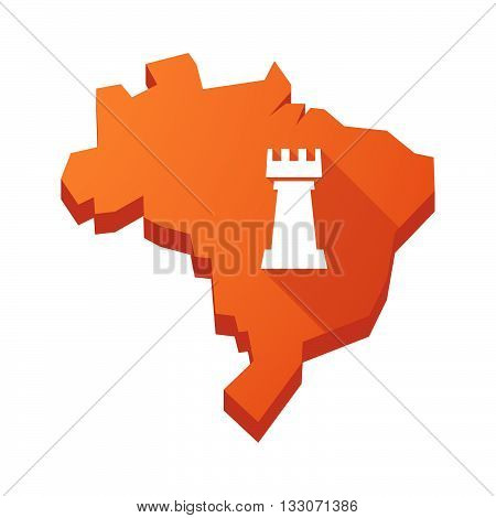 Illustration Of An Isolated Brazil Map With A  Rook   Chess Figure
