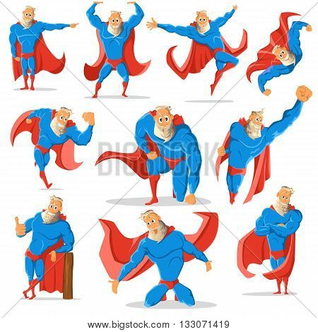 Old charismatic hipster Superhero in different poses. Superhero in action. Vector illustration