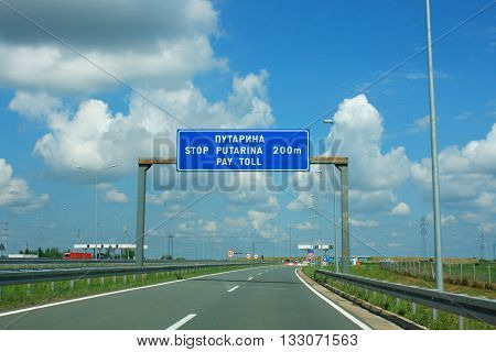 Highway sign for pay toll object .