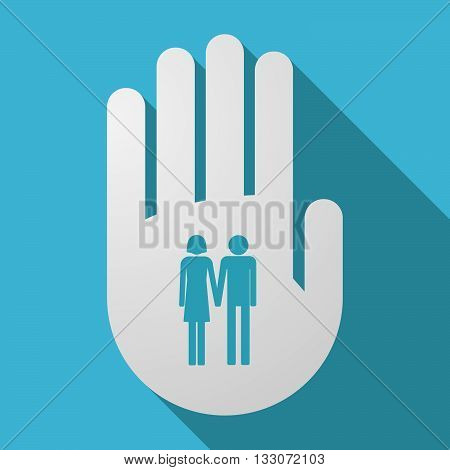 Long Shadow Hand With A Heterosexual Couple Pictogram