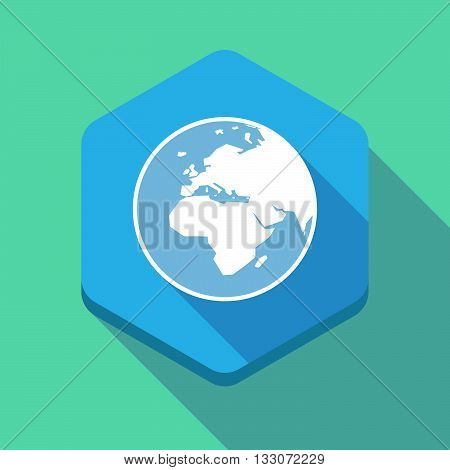 Long Shadow Hexagon Icon With   An Asia, Africa And Europe Regions World Globe