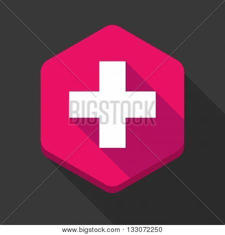 Long Shadow Hexagon Icon With   The Swiss Flag