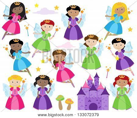 Vector Set of Cute Fairies with a Fantasy Castle