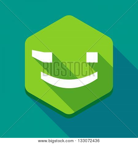 Long Shadow Hexagon Icon With  A Wink Text Face Emoticon