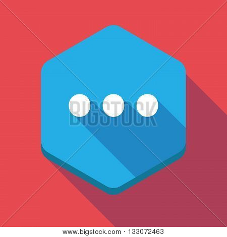 Long Shadow Hexagon Icon With  An Ellipsis Orthographic Sign