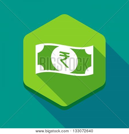 Long Shadow Hexagon Icon With  A Rupee Bank Note Icon