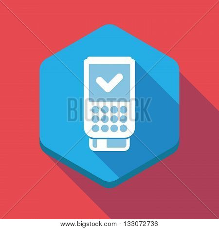 Long Shadow Hexagon Icon With  A Dataphone Icon