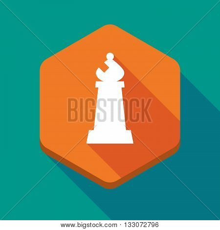 Long Shadow Hexagon Icon With A Bishop    Chess Figure
