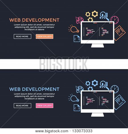 Web development site. Web development illustration. Flat design. Banner of web development concept. . Flat design illustration concepts for analysis working coding programming and teamwork