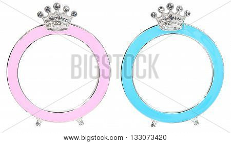 Two photo frames in form of round with a crown inlaid rhinestones with place isolated for your photo.