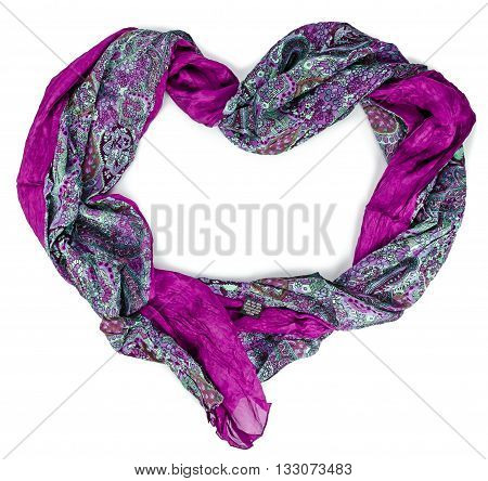 Women's purple silk scarf in form of heart on isolated background