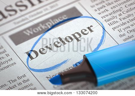 Newspaper with Classified Advertisement of Hiring Developer. Blurred Image. Selective focus. Job Seeking Concept. 3D Rendering.
