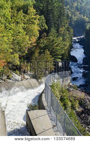Ripogenus Dam Spillway funneling water toward Ripogenus Gorge