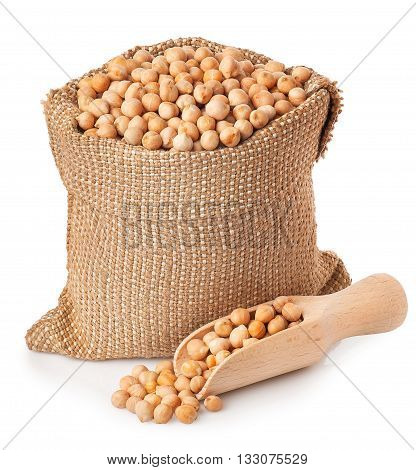 Dry chickpeas in sack with scoop isolated on white background. Chickpeas in burlap bag on white background isolate