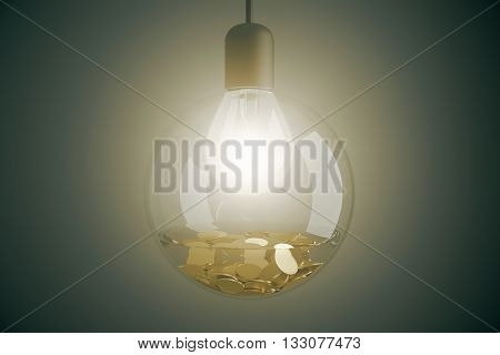 Money making idea with illuminated lightbulb inside transparent glass bowl with water and coins on gray background. 3D Rendering