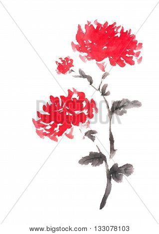 Two red chrysanthemums Japanese style original sumi-e ink painting. Great for greeting cards or texture design.