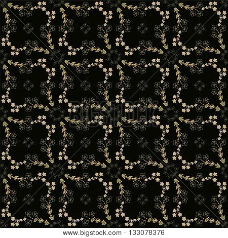 Seamless pattern with ochre flowers on dark background. Vector illustration