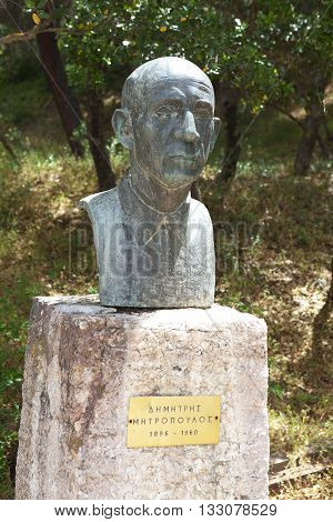 Bust Mitropoulos. Dimitris Mitropoulos - Greek-American conductor, pianist and kompozitor. Epidaurus. Greece. May 5, 2016