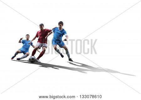 football soccer players in action isolated on white background
