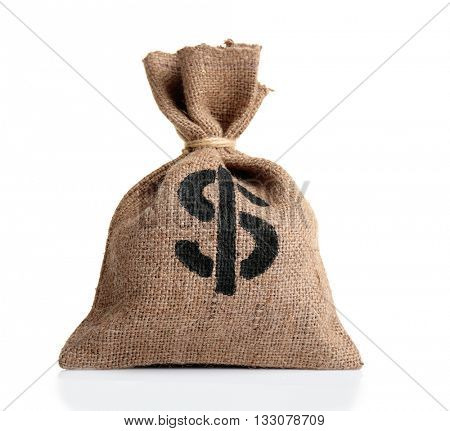 Sack with money isolated on white